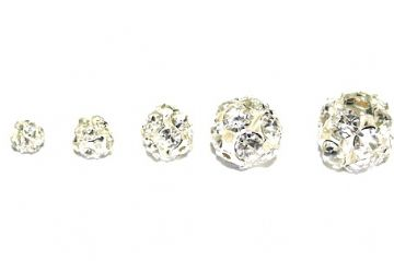 100 X 16mm Silver Plated Rhinestone Rondelle Spacers Balls W/Clear Stones Model 1475-S.D05